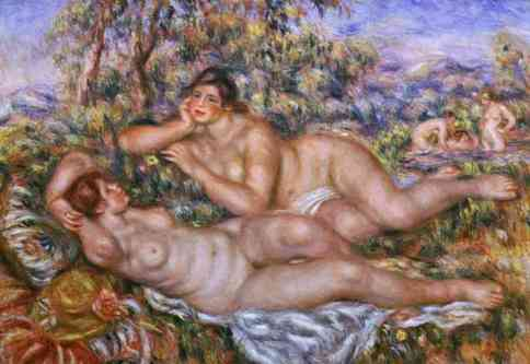 "Renoir, ""The Bathers"" (est. 1918; PD-1923). Just to reiterate that ""beauty"" is socially constructed; assuming Renoir found these women beautiful."